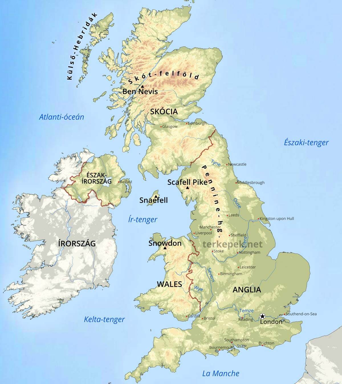 nagy britannia térkép Egyesült Királyság domborzati térképe nagy britannia térkép